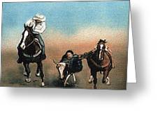 Steer Wrestling Greeting Card
