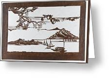 Stencil With Pattern Of Seascape On White Ground Greeting Card