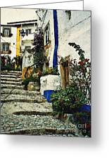 Step Street In Obidos Greeting Card