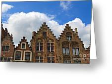 Stepped Gables Of The Brick Houses In Jan Van Eyck Square Greeting Card
