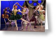 Stepsister Ballerinas En Pointe And Guests Ballroom Dancing In B Greeting Card