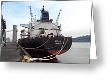 Stern Of The Vessel Indrani At Dock Greeting Card