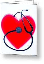 Stethoscope And Plastic Heart Greeting Card