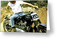 Steve Mcqueen, Triumph Motorcycle, On Any Sunday Greeting Card