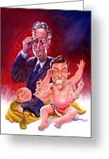 Stewart And Colbert Greeting Card by Ken Meyer jr