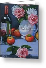 Still Life 1,rose N Wine Greeting Card