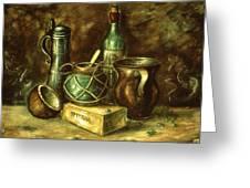 Still Life 72 - Oil On Wood Greeting Card