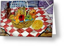 Still Life Art Fruit Basket 3 Greeting Card