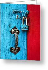 Still Life In Blue And Red Greeting Card