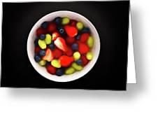 Still Life Of A Bowl Of Fresh Fruit Salad. Greeting Card