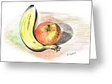 Still Life Of Apple And Banana  Greeting Card