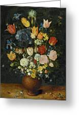 Still Life Of Flowers In A Stoneware Vase Greeting Card