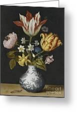Still Life Of Flowers In A Wan-li Vase Greeting Card