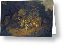 Still Life Of Fruit With A Monkey Greeting Card
