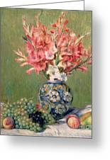 Still Life Of Fruits And Flowers Greeting Card