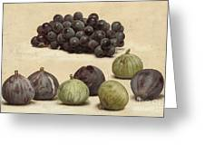 Still Life Of Grapes And Figs Greeting Card