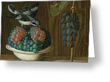Still Life Of Grapes With A Gray Shrike Greeting Card