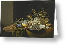 Still Life Of Hazelnuts Grapes Oysters And Other Foods On A Draped Table Greeting Card