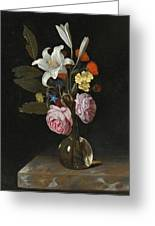 Still Life Of Roses Lilies And Other Flowers In A Glass Vase On A Marble Ledge Greeting Card