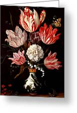 Still Life Of Variegated Tulips In A Ceramic Vase With A Wasp A Dragongly A Butterfly And A Lizard Greeting Card