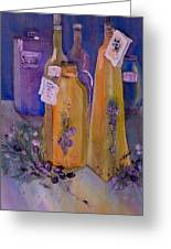 Still Life Olive Oil And Olive Twigs Greeting Card