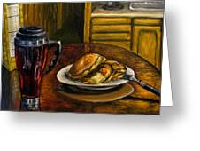 Still Life Pancakes And Coffee Painting Greeting Card