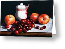Still Life 'preserve Pot And Fruit' Greeting Card