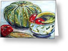 Still-life Pumpkin And Apples Greeting Card