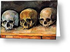Still Life, Three Skulls Greeting Card