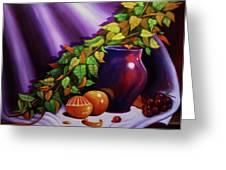 Still Life W/purple Vase Greeting Card