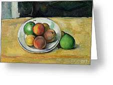 Still Life With A Peach And Two Green Pears Greeting Card