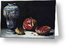 Still Life With A Pomegranate Greeting Card by Auguste Theodule Ribot