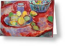 Still Life With A Red Cloth Greeting Card