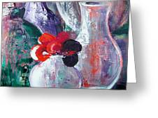 Still Life With A Red Flower Greeting Card