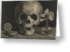 Still Life With A Skull And A Vase Of Roses Greeting Card
