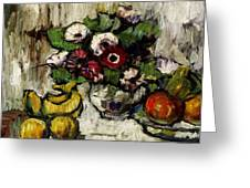 Still Life With Anemones And Fruit Greeting Card