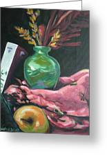 Still Life With Apple  Book And Vase Greeting Card