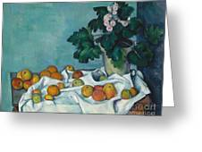 Still Life With Apples And A Pot Of Primroses, 1890 Greeting Card