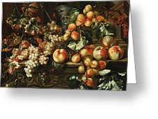 Still Life With Apples And Grapes Greeting Card