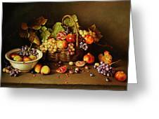 Still Life With Basket And Pomegranate Greeting Card