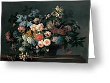 Still Life With Basket Of Flowers Greeting Card