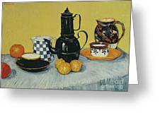Still Life With Blue Enamel Coffeepot, Earthenware And Fruit, 1888 Greeting Card
