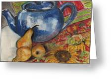 Still Life With Blue Teapot One Greeting Card