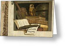 Still Life With Books Sheet Music Violin Celestial Globe And An Owl Greeting Card