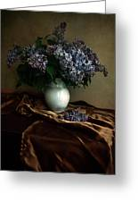 Still Life With Bouqet Of Fresh Lilac Greeting Card
