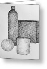 Still Life With Cup Bottle And Shapes Greeting Card by Michelle Calkins