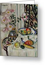 Still Life With Daisies And Fruit Greeting Card