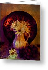 Still Life With Daisies And Grapes - Oil Painting Edition Greeting Card