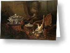 Still Life With Dead Game And A Silver Tureen On A Turkish Carpet Greeting Card