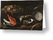Still Life With Fish And Oysters  Greeting Card